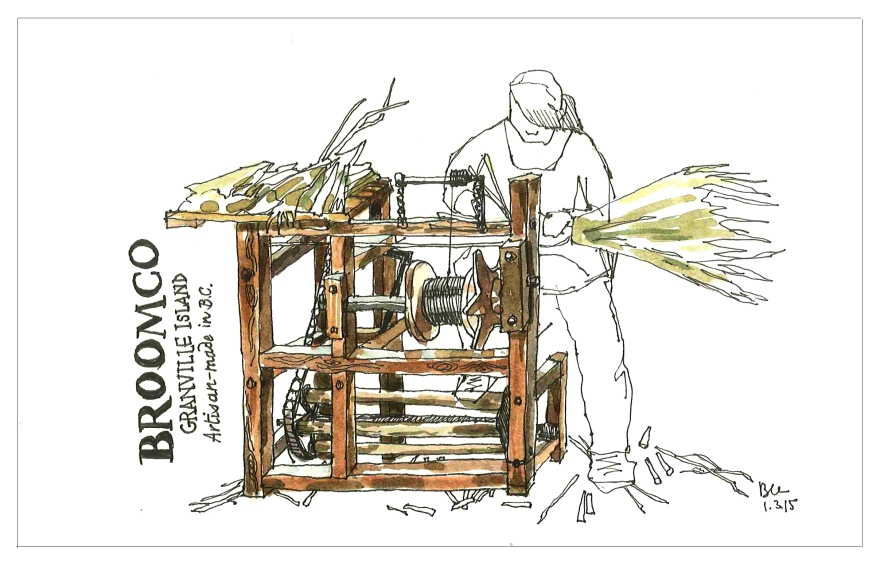Broom assembly, Vancouver BC (Pen and ink and watercolor)