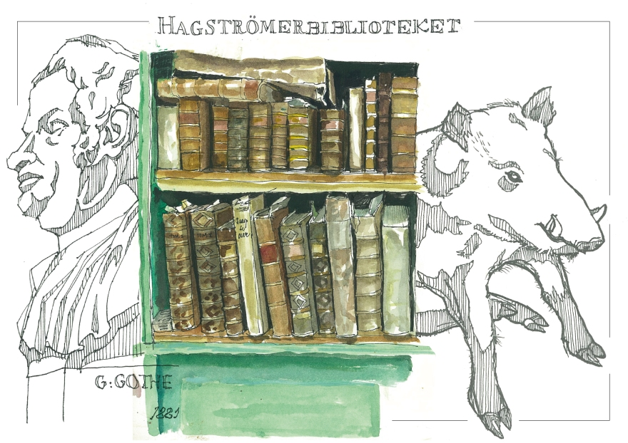Sketching at the Hagströmerbiblioteket, Stockholm, Sweden (Markers and watercolour)
