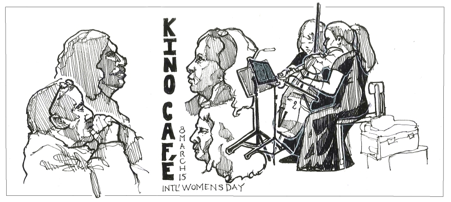 Music night at Kino Cafe, Vancouver BC (Pen and ink)