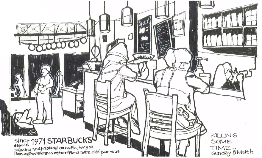 Coffee break, Vancouver BC (Pen and ink)