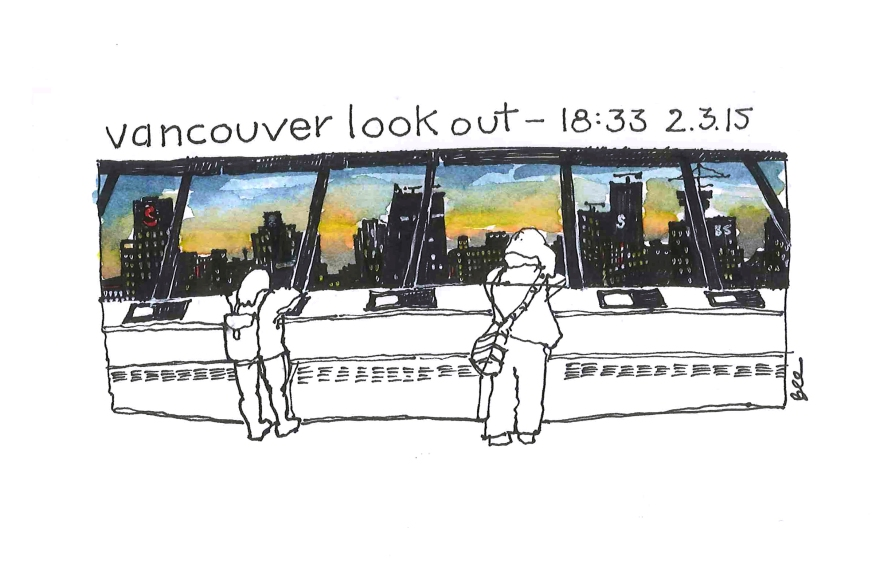 Sunset from Vancouver look out, Vancouver BC (Pen and ink and watercolor)
