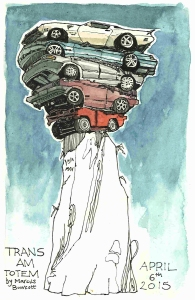 Trans Am Totem - Vancouver Biennale (Pen and ink and watercolor)