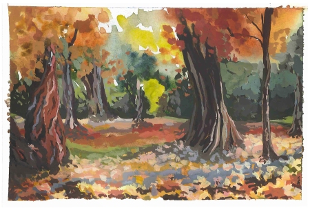 Autumn in Stanley Park, Vancouver BC (Watercolor and gouache)