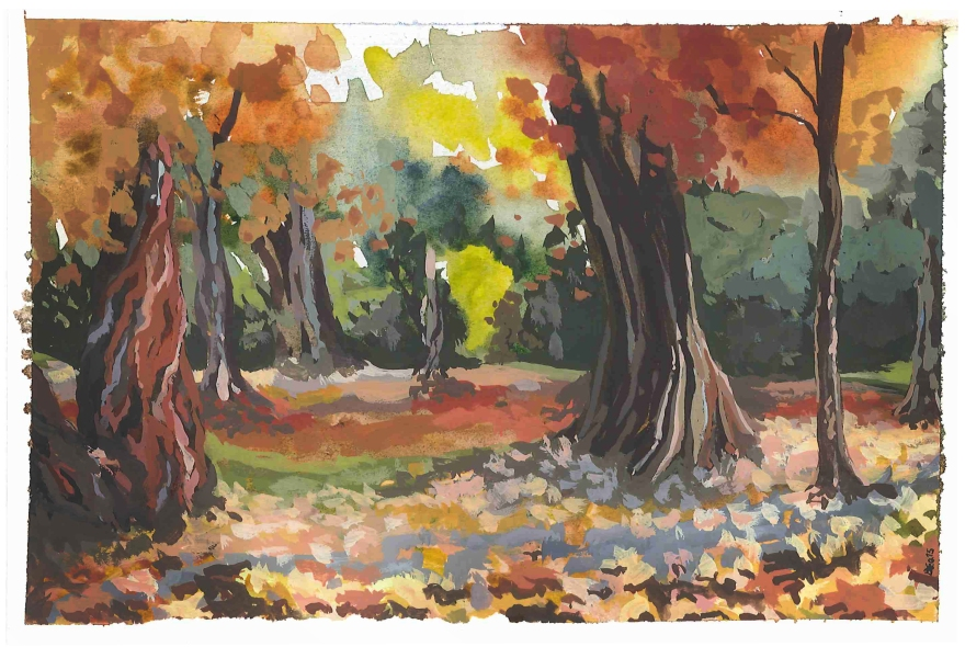 Study of autumn at Stanley Park, Vancouver BC (Watercolor and gouache)
