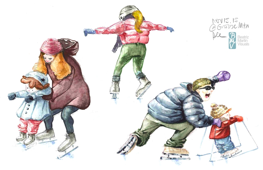 Ice skaters at Grouse Mountain, Vancouver BC (Graphite and watercolor)