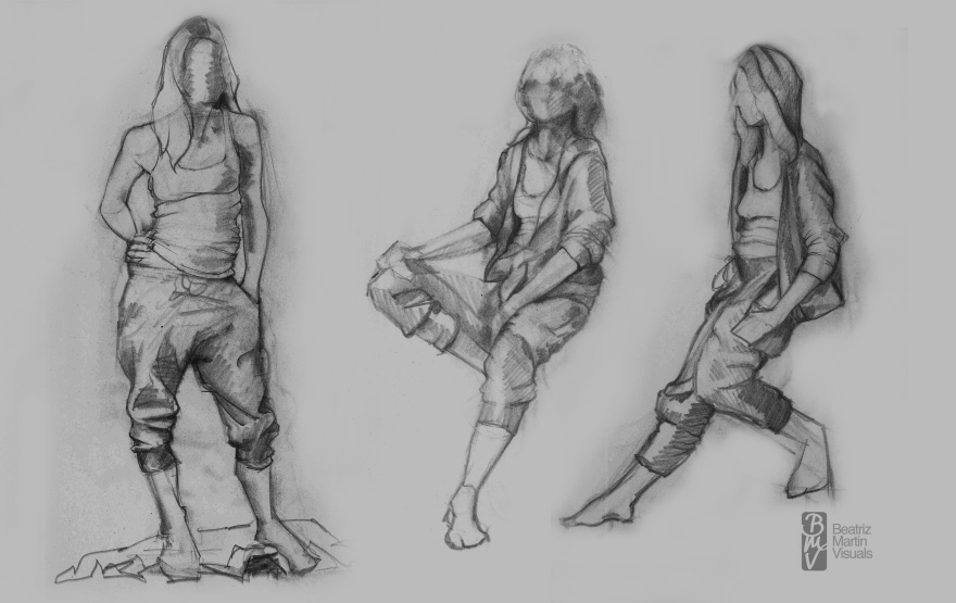 Life studies of dressed model (Graphite on newsprint paper)
