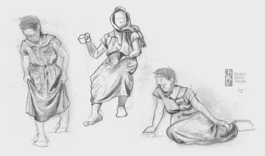 Studies of dressed model (Graphite on newsprint)