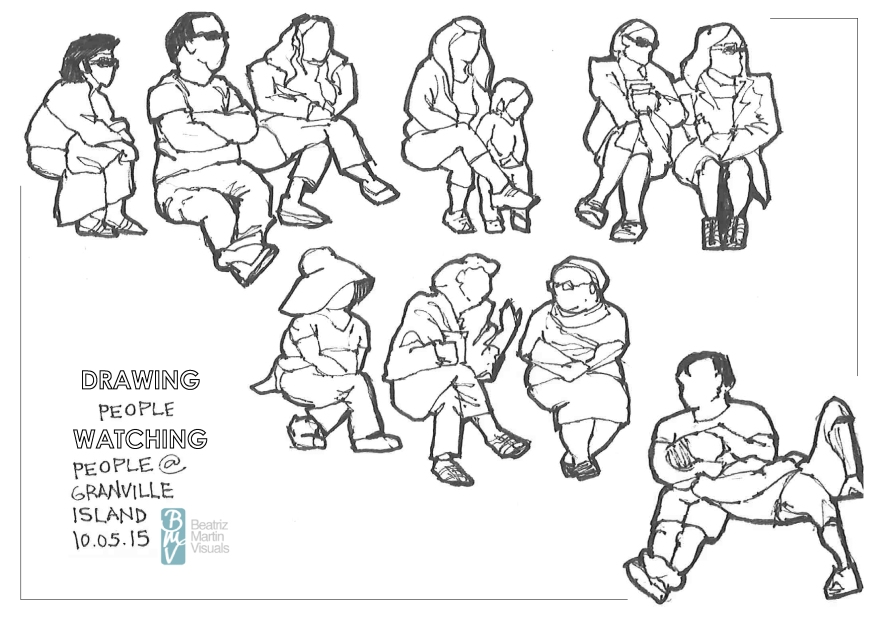 Sketching people watching people at Granville Island, Vancouver (Markers)