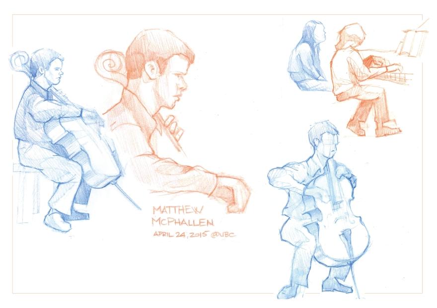 Sketching at cello recital at UBC, Vancouver (Color pencil)