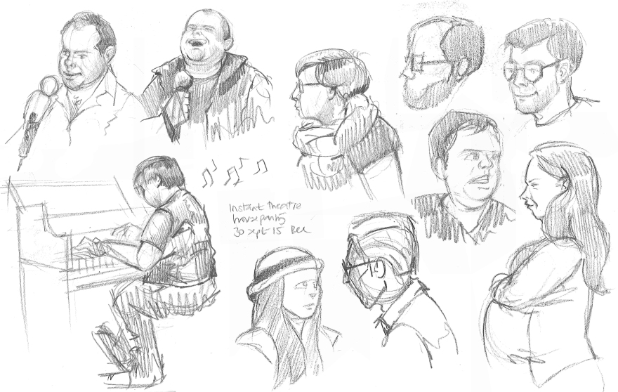 Improv and stand up people from Instant Theatre (Pencil)
