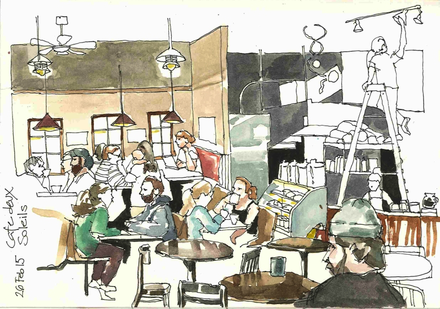 Sketching people at a local coffee place, Vancouver BC (Markers and watercolor)