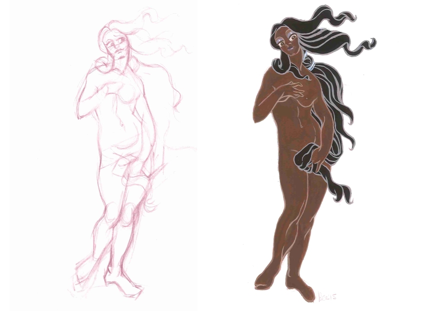 From sketch to final design: Venus after Botticelli's 'Birth of Venus' (Gouache)