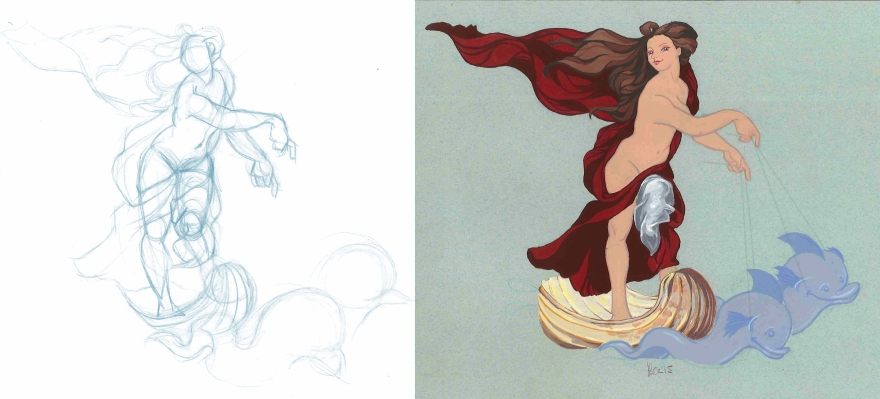 From sketch to final design: Galatea after Raphael's 'The Triumph of Galatea' (Gouache)