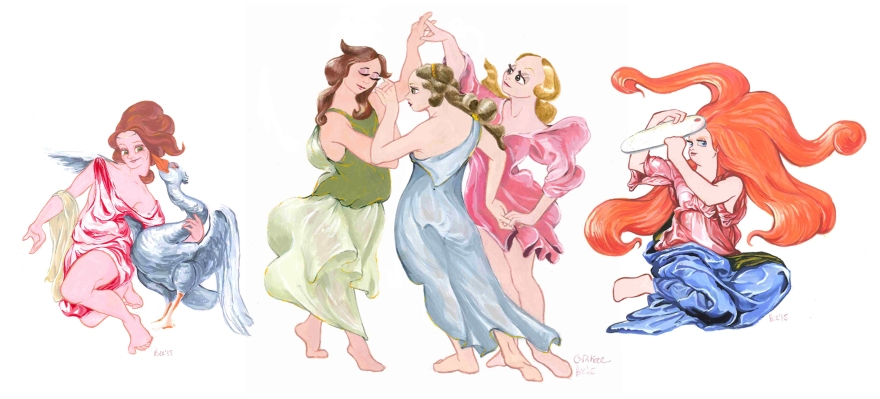 From left to right: Leda and the goose after Leonardo da Vinci's 'Leda and the swan', the Gratiae after Botticelli's 'La primavera' and  the Goddess of animation after Michelangelo´s 'The Holy Family' (Gouache)