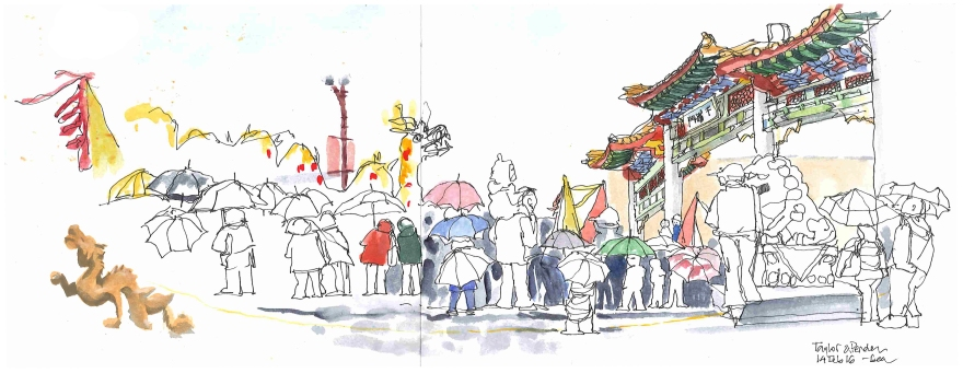 Chinese New Year parade, Vancouver BC (Markers and gouache)