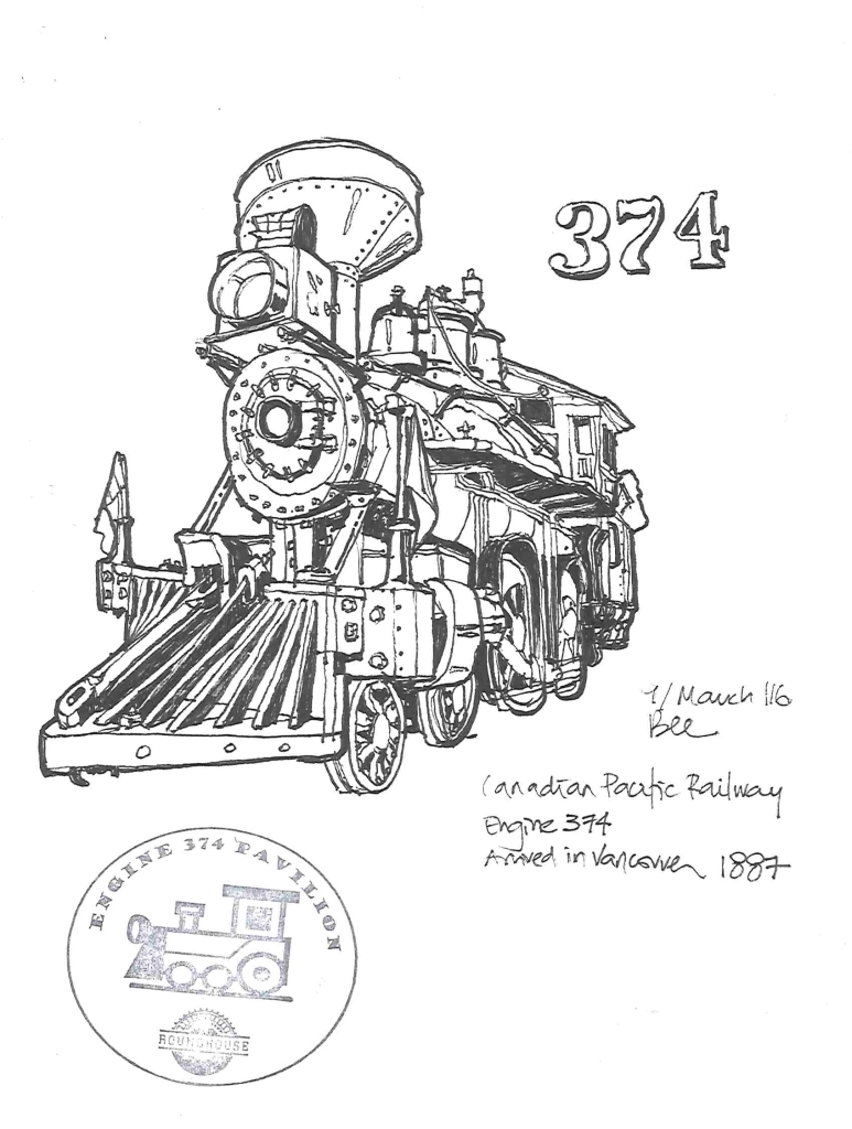 Sketching Engine 374 at Roundhouse Community Centre, Vancouver (Markers)