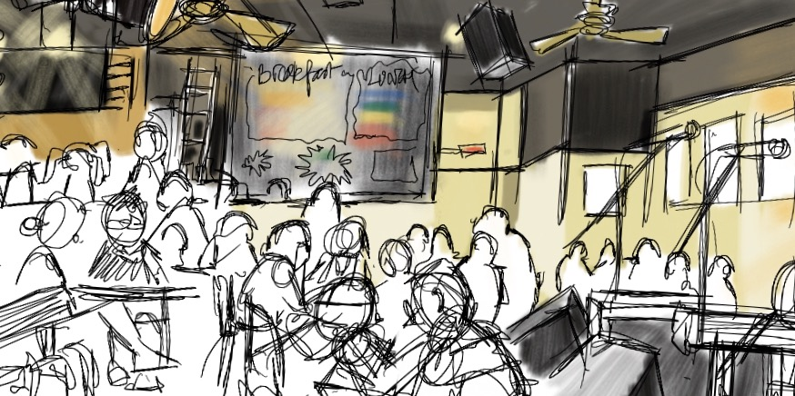 Digital sketch during concert Cafe deux Soleis, Vancouver VC (Procreate ©)
