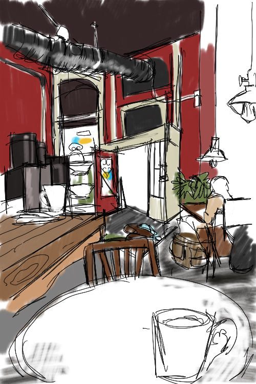 Digital sketch at Bambo Café, Vancouver BC  (Procreate ©)
