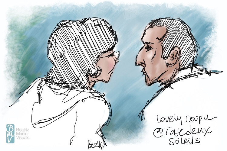 Lovely couple at Cafe deux Soleils, Vancouver BC (Procreate©)
