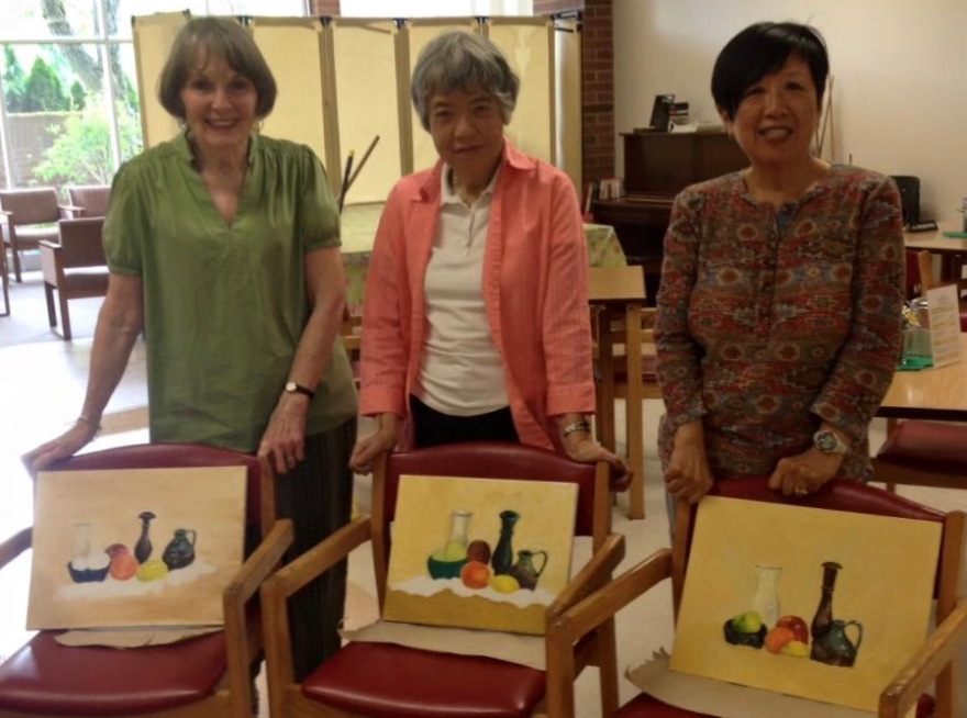 My very talented students from a workshop on painting still life with acrylics  (Vancouver BC)