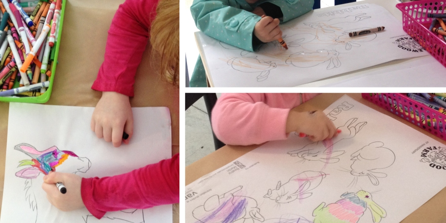 Children painting their favourite animals during the colouring activity I organized for 40th anniversary of Maplewood Farm (Vancouver, BC)