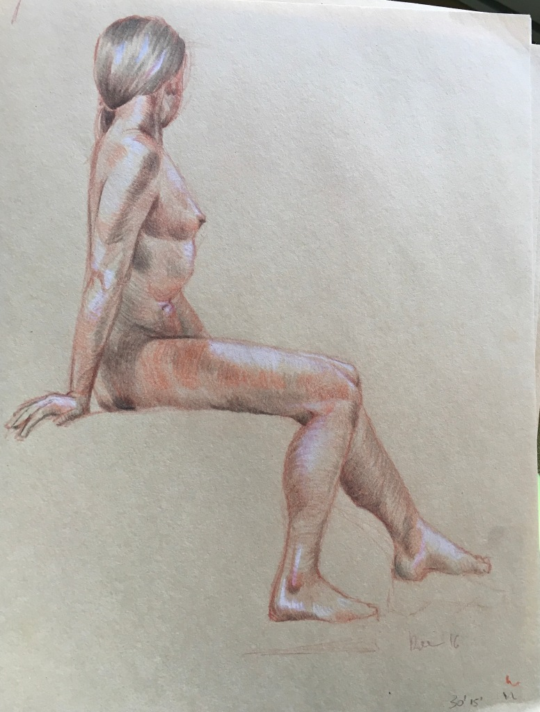 Study of female model, 45 min (Colour pencil)
