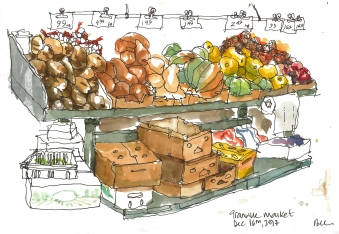 Sketching at the Granville Island Public Market, Vancouver BC (Markers and watercolor)
