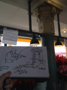 Sketching at Pike Place Market, Seattle WA (Markers and watercolor)